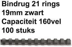 BINDRUG FELLOWES 19MM 21RINGS A4 ZWART 100 STUK