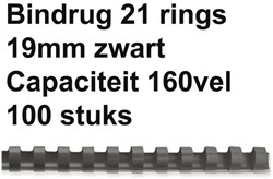 BINDRUG GBC 19MM 21RINGS A4 ZWART 100 STUK