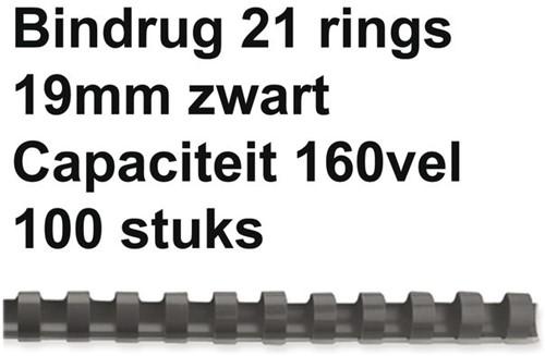 BINDRUG GBC 19MM 21RINGS A4 ZWART 100 STUK