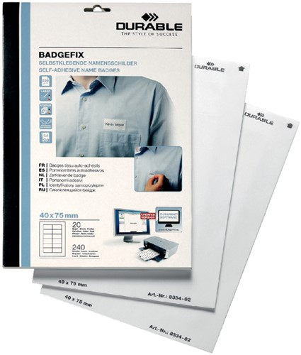 NAAMBADGE ETIKET DURABLE 8334 BADGEFIX 40X75MM ZK 240 Stuk