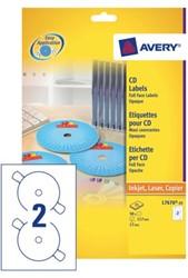 ETIKET AVERY CD L7676-25 LASER INKJET OPAAK 1 STUK