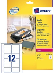 ETIKET AVERY L7671-25 76.2X46.4MM VIDEO 300ST 25 VEL
