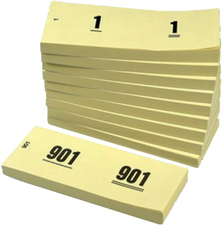 NUMMERBLOK 42X105MM NUMMERING 1-1000 GEEL 10STUK 10 Stuk