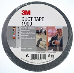 PLAKBAND 3M SCOTCH 1900 DUCT TAPE 50MMX50M ZWART 1 STUK