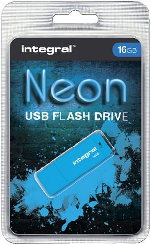 USB-STICK INTEGRAL FD 16GB NEON BLAUW 1 Stuk