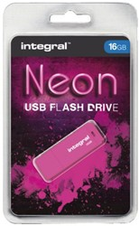 USB-STICK INTEGRAL FD 16GB NEON ROZE 1 STUK