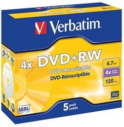 DVD+RW VERBATIM 4.7GB 4X 5PK JC 1 STUK