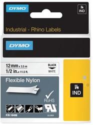LABELTAPE DYMO 18488 12MMX3.5M RHINO WIT/ZWART 1 STUK