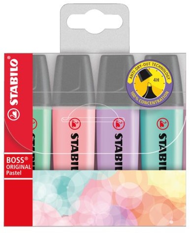 MARKEERSTIFT STABILO BOSS 70/4-2 PASTEL ASS 4 STUK