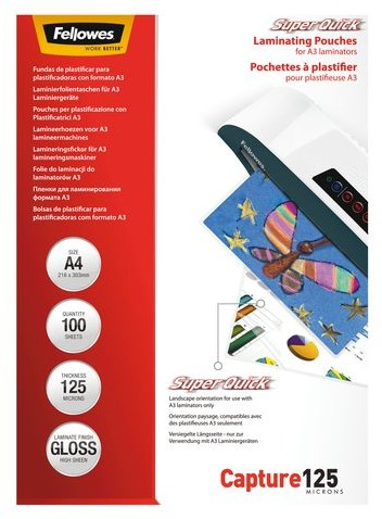 LAMINEERHOES FELLOWES SUPERQUICK A4 2X125MICRON 100 STUK-2