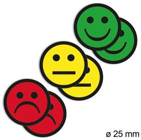 MAGNEET SMILEY 2.5CM 2X GEEL 2X GROEN 2X ROOD 6 STUK