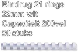 BINDRUG FELLOWES 22MM 21RINGS A4 WIT 50 STUK