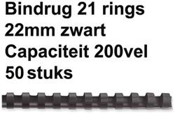 BINDRUG FELLOWES 22MM 21RINGS A4 ZWART 50 STUK