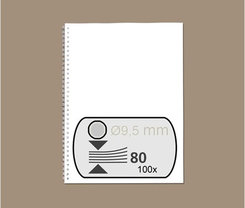 DRAADRUG GBC 9.5MM 34RINGS A4 ZILVER 100 STUK