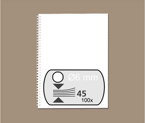 DRAADRUG GBC 6MM 34RINGS A4 WIT 100 STUK
