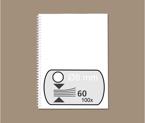 DRAADRUG GBC 8MM 34RINGS A4 WIT 100 STUK