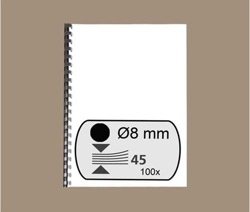 BINDRUG FELLOWES 8MM 21RINGS A4 ZWART 100 STUK-2