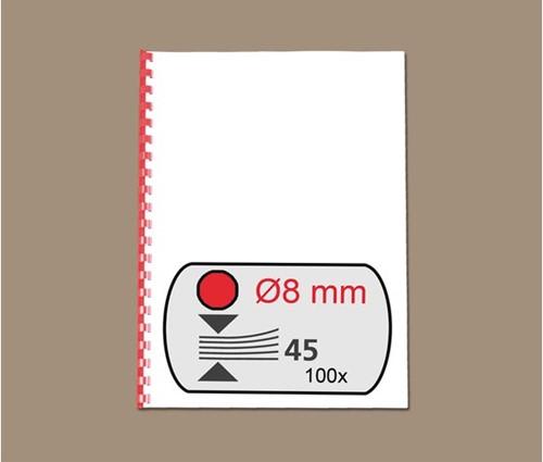 BINDRUG GBC 8MM 21RINGS A4 ROOD 100 STUK-2