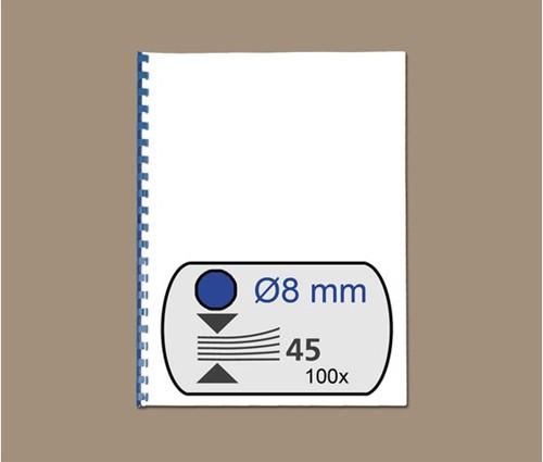 BINDRUG GBC 8MM 21RINGS A4 BLAUW 100 STUK-2