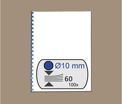 BINDRUG GBC 10MM 21RINGS A4 BLAUW 100 STUK-2