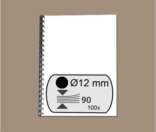 BINDRUG GBC 12MM 21RINGS A4 ZWART 100 STUK-2
