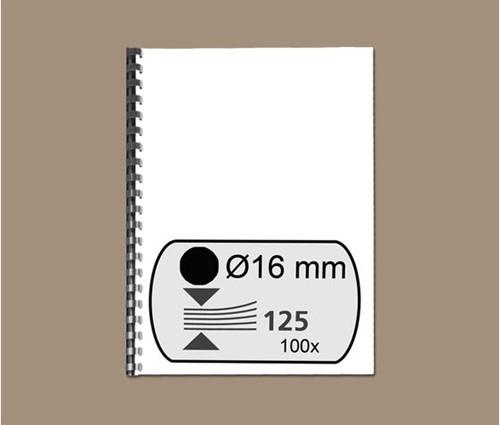 BINDRUG GBC 16MM 21RINGS A4 ZWART 100 STUK-2