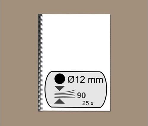 BINDRUG FELLOWES 12MM 21RINGS A4 ZWART 25 STUK-2