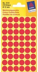 ETIKET AVERY ZWECK 3141 12MM ROOD 270ST 1 PAK