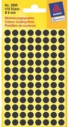 ETIKET AVERY ZWECK 3009 8MM ZWART 416ST 1 STUK
