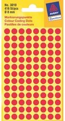 ETIKET AVERY ZWECK 3010 8MM ROOD 416ST 1 STUK