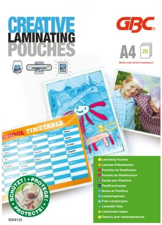 LAMINEERHOES GBC CREATIVE A4 2X125MICRON 25 STUK